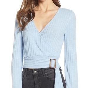 bp Sweaters - BP | NWOT belted wrap sweater top flared sleeves